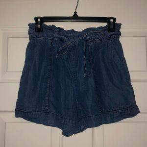 H&M light denim Paper Bag shorts